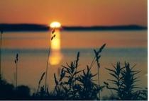 サロマ湖の夕日