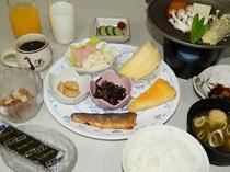 朝食(一例)朝食時はジュース・牛乳・ドリップコーヒーもフリードリンクです。