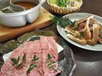 かに鍋&牛しゃぶが一度に楽しめます!