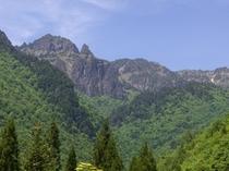 当館から眺めた錫杖岳