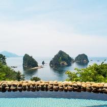 <男性用露天風呂>三四郎島を目の前にした眺望がいつまでに入りたくなってしまいますね!
