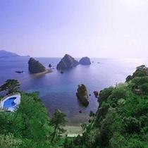 ホテル屋上からの遊歩道&三四郎島