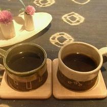 出発の前にまろやかな源泉コーヒーをどうぞ