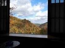 お部屋から眺める九酔渓の景色