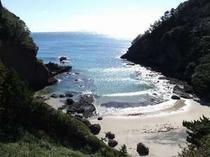 道上から碁石が浜を見下ろす。