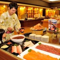 【夕食バイキング】好きなお刺身を好きなだけ乗っける勝手丼コーナー!いくらがおすすめ!