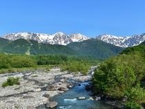 松川より白馬三山を望む
