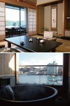 【露天風呂付客室(桧の内風呂付)】海の見える和室12畳 (季和海・ときなごみ)