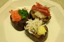 料理例7:茄子の胡麻油焼き・これぞ和風オードブル。