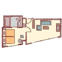 【スイート】39.58㎡/110cm幅のベッドx2台