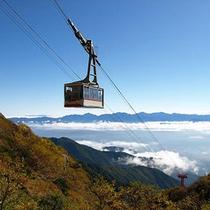 雲海を眼下に望む駒ケ岳ロープウェイ