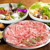 (夕食)サシの入った高級和牛のしゃぶしゃぶと朝獲れ新鮮お造りを堪能