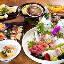 (夕食)豪華版!佐賀牛たたき、伊勢海老、サザエ、あわび、刺身盛りの贅沢海鮮