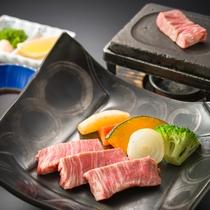 国産牛美食プランの石焼ステーキ