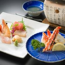 海鮮美食プランの刺身と焼タラバ