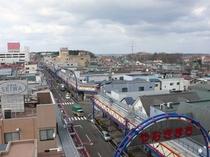 屋上からの町並み やなぎまちのど真ん中です