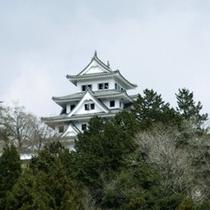 八幡城を客室から眺む