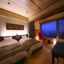 【本館6階】新タイプ:和モダンツイン<琉球畳+板間>(37.5㎡)