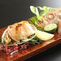 *【選べる海鮮】/海鮮焼き物「鮑バターと季節のお魚」/選べる海鮮プランの一品「鮑と海鮮の焼き盛り」