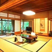 【特別室棟の一例】書院数奇造り離れ風。天然温泉内風呂を楽しめる清流桂川沿いのお部屋。