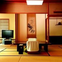 【特別室棟の一例】贅沢な広さと優美な造りとなっており、客室からは清流桂川が眺められます。