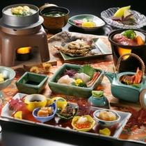 秋の味覚が満載の阿賀会席料理です。