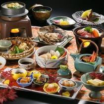 ボリューム満点旬の阿賀会席料理 秋の味覚をご堪能ください。