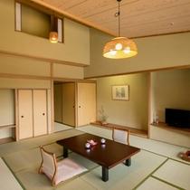 【水涌館】四万の山並みが美しいメゾネット特別室 1階が14畳の和室、2階がツインベッドルーム