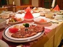 ステーキプランご夕食の一例