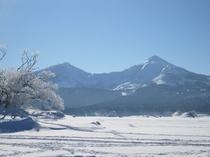 桧原湖上からの磐梯山
