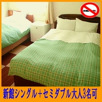 【新館】禁煙ツイン・セミダブル+シングル(306号室)