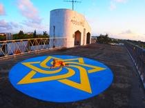 【屋上】看板犬bibiちゃんの黄昏。屋上の景色は朝~夕方~夜と様々な表情で楽しませてくれます。