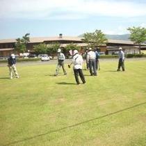施設の裏のグラウンドゴルフ場。御宿泊のお客様は無料で利用できます!