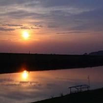 筑後川の夕日