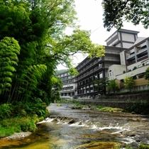 ホテル脇を流れる 袋田の滝からの滝川