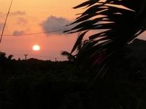 宿の庭から見える夕日