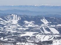 根子岳から見た菅平高原スキー場