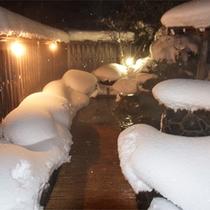 *雪見露天/冬は庭園露天風呂から雪景色がお楽しみいただけます。
