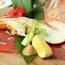 【夕食・焼物】物蒸しロブスターの海老味噌添え