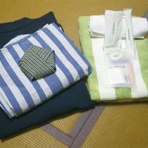 *アメニティ一例/浴衣にタオル、歯磨きセット。基本アメニティはご用意しております。