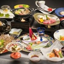 蔵王牛陶板ステーキをメインに季節の厳選食材を使用した「美食会席膳」