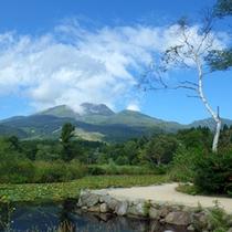 *【いもり池】晴れた日、水面に映し出される妙高山が美しい