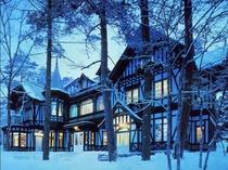 外観冬-夕暮れ