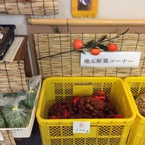 *【地場産の農作物】フロント横にて季節のお野菜などを販売しています。
