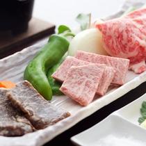【近江牛3種盛り】熟成養生肉・特選近江牛鉄板焼き・特選近江牛焼きしゃぶしゃぶ。