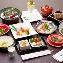 *【華湖の膳一例】お魚メインバージョン。滋賀の旬の食材を使用した豪華な会席コース。