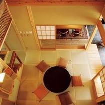 【離れ舎】2階から広間を見下ろす