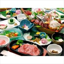 伊豆牛ステーキと舟盛りの-山城-プランのお料理イメージです。