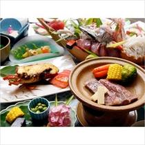 伊豆牛×伊勢海老の-山海-のお料理イメージです。