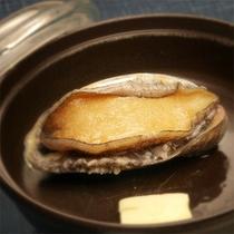 *夕食一例、アワビの踊り焼き